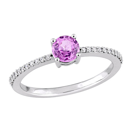 Womens 1/8 CT. T.W. Genuine Pink Sapphire 14K White Gold Solitaire Cocktail Ring