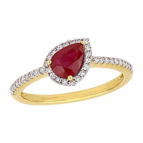 Womens 1/5 CT. T.W. Lead Glass-Filled Red Ruby 14K Gold Halo Cocktail Ring
