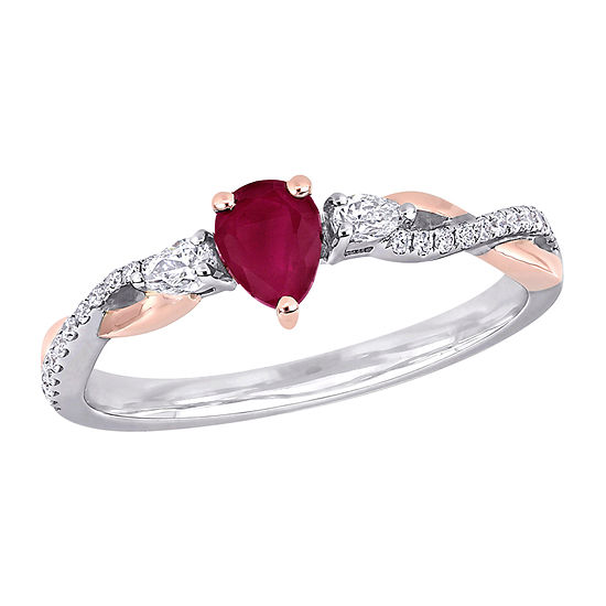 Womens 1/5 CT. T.W. Lead Glass-Filled Red Ruby 14K Two Tone Gold Cocktail Ring