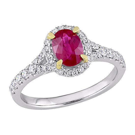 Womens 1/2 CT. T.W. Lead Glass-Filled Red Ruby 14K White Gold Halo Cocktail Ring