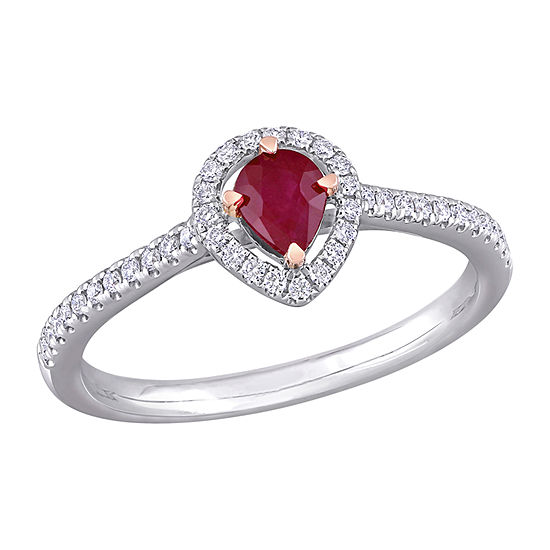 Womens 1/5 CT. T.W. Lead Glass-Filled Red Ruby 14K Two Tone Gold Halo Cocktail Ring