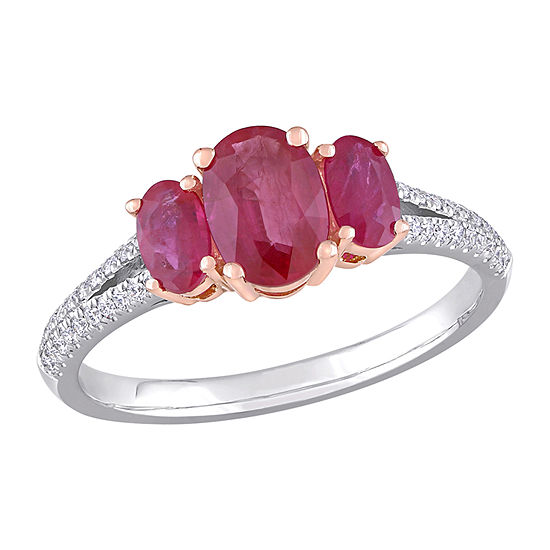 Womens 1/6 CT. T.W. Lead Glass-Filled Red Ruby 14K Two Tone Gold 3-Stone Cocktail Ring