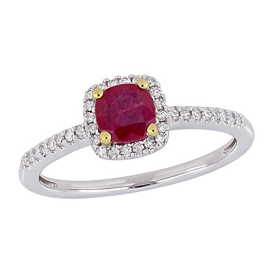 Womens 1/7 CT. T.W. Lead Glass-Filled Red Ruby 10K Two Tone Gold Halo Cocktail Ring