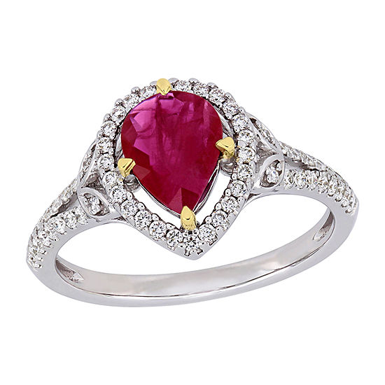 Womens 1/3 CT. T.W. Lead Glass-Filled Red Ruby 14K Two Tone Gold Cocktail Ring