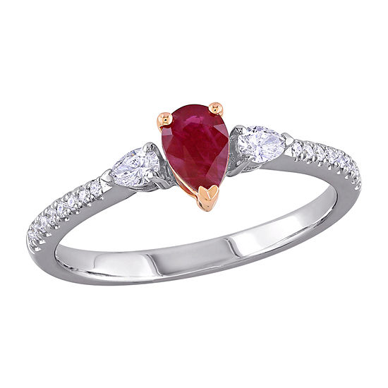 Womens 1/4 CT. T.W. Lead Glass-Filled Red Ruby 14K Two Tone Gold 3-Stone Cocktail Ring