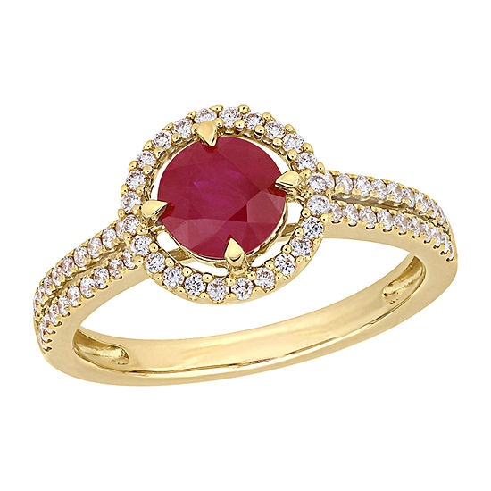 Womens 1/3 CT. T.W. Lead Glass-Filled Red Ruby 14K Gold Halo Cocktail Ring