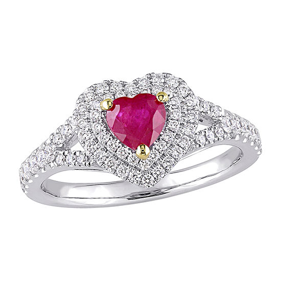 Womens 3/8 CT. T.W. Lead Glass-Filled Red Ruby 14K Two Tone Gold Heart Halo Cocktail Ring