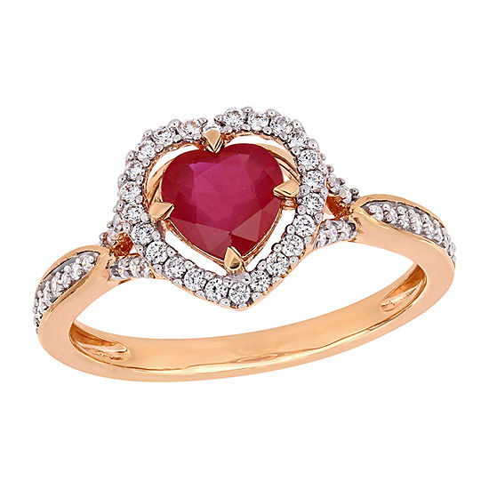Womens 1/4 CT. T.W. Lead Glass-Filled Red Ruby 14K Rose Gold Heart Halo Cocktail Ring