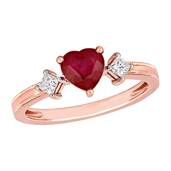 Womens 1/5 CT. T.W. Lead Glass-Filled Red Ruby 14K Rose Gold Heart 3-Stone Cocktail Ring