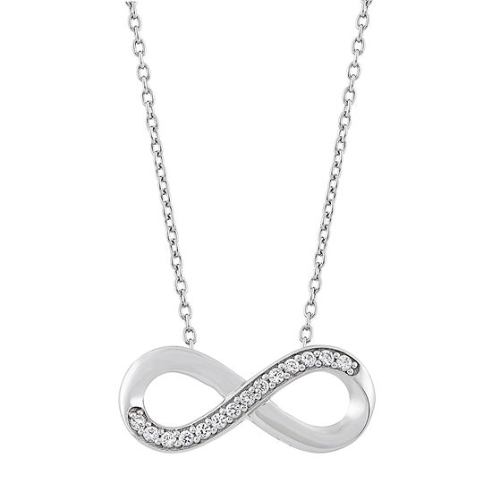 """241 """"Wear It Both Ways"""" Womens Lab Created White Sapphire Sterling Silver Infinity Pendant Necklace"""