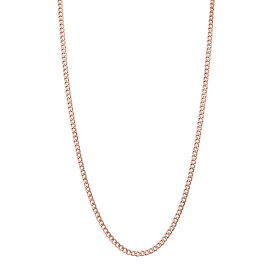 14K Rose Gold 24 Inch Hollow Curb Chain Necklace