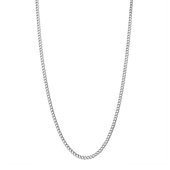 14K White Gold 20 Inch Hollow Curb Chain Necklace