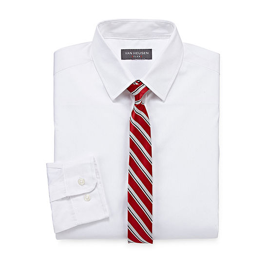Van Heusen Little & Big Boys Point Collar Long Sleeve Shirt + Tie Set