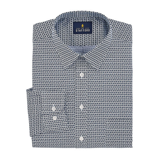 Stafford Mens Point Collar Long Sleeve Wrinkle Free Stain Resistant Dress Shirt