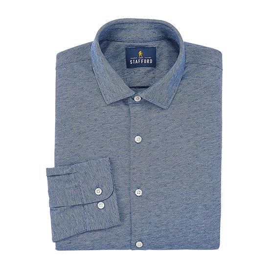 Stafford Mens Knit Moisture Wicking Stretch Dress Shirt
