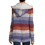 Arizona Womens Long Sleeve Ombre Cardigan-Juniors Plus