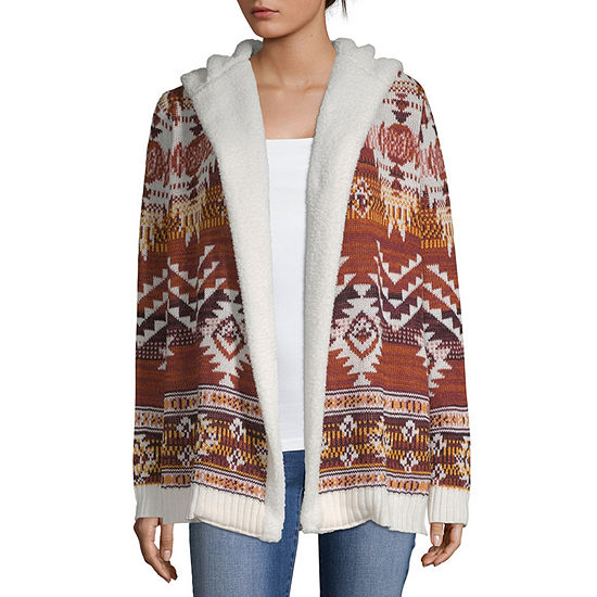 Almost Famous Womens Long Sleeve Ombre Cardigan-Juniors Plus