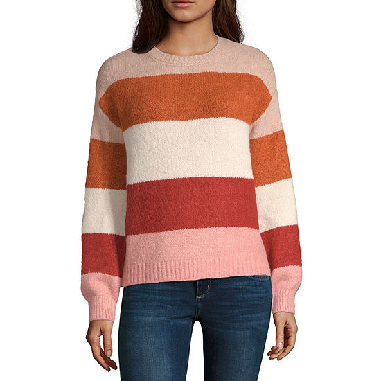 a.n.a Womens Crew Neck Long Sleeve Striped Pullover Sweater
