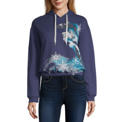 Juniors-Womens Hooded Neck Long Sleeve Frozen T-Shirt
