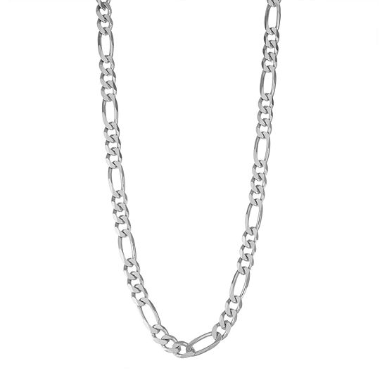 Sterling Silver 20 Inch Solid Figaro Chain Necklace