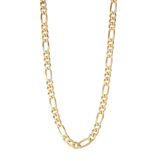 14K Gold Over Silver 22 Inch Solid Figaro Chain Necklace