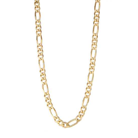 14K Gold Over Silver 24 Inch Solid Figaro Chain Necklace