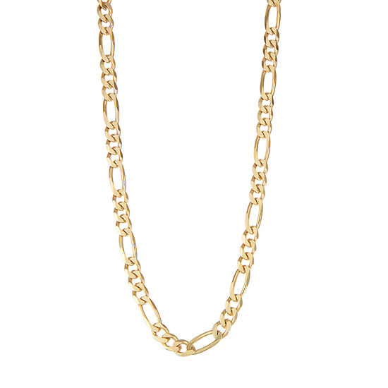 14K Gold Over Silver Solid Figaro Chain Necklace