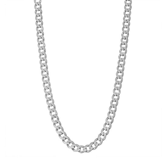 Sterling Silver 22 Inch Solid Curb Chain Necklace