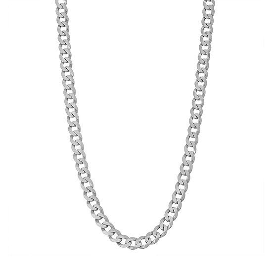 Sterling Silver 30 Inch Solid Curb Chain Necklace