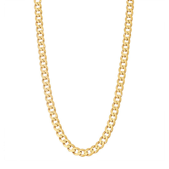 14K Gold Over Silver 24 Inch Solid Curb Chain Necklace