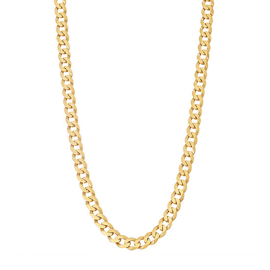 14K Gold Over Silver Solid Curb Chain Necklace
