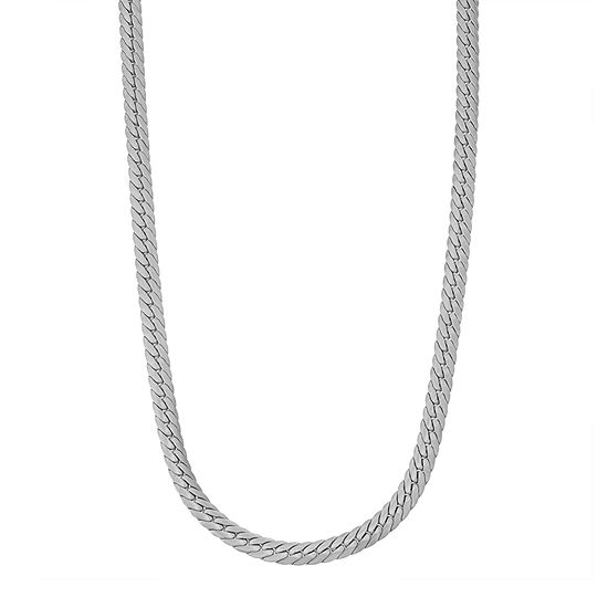 Sterling Silver 24 Inch Solid Herringbone Chain Necklace
