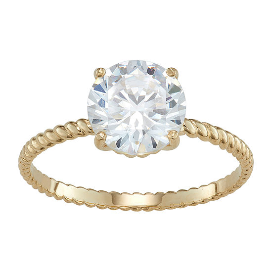Womens 3 1/2 CT. T.W White Cubic Zirconia 10K Gold Engagement Ring