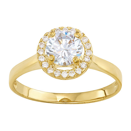 Womens 1 1/2 CT. T.W. White Cubic Zirconia 10K Gold Engagement Ring