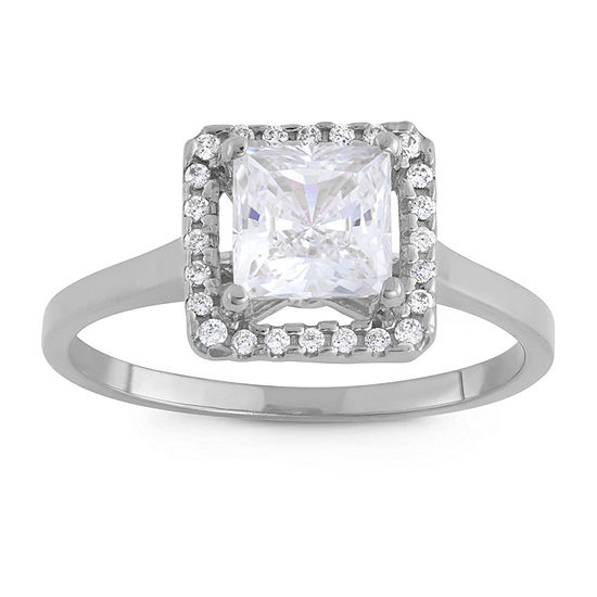 Womens 2 1/4 CT. T.W. White Cubic Zirconia 10K White Gold Engagement Ring
