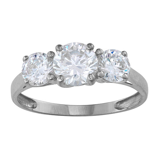 Womens 2 1/2 CT. T.W. White Cubic Zirconia 10K White Gold Engagement Ring