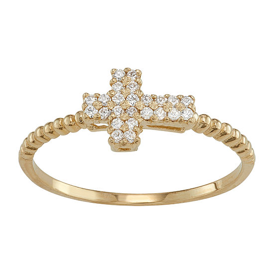 Womens 1/4 CT. T.W. White Cubic Zirconia 10K Gold Cross Midi  Cocktail Ring