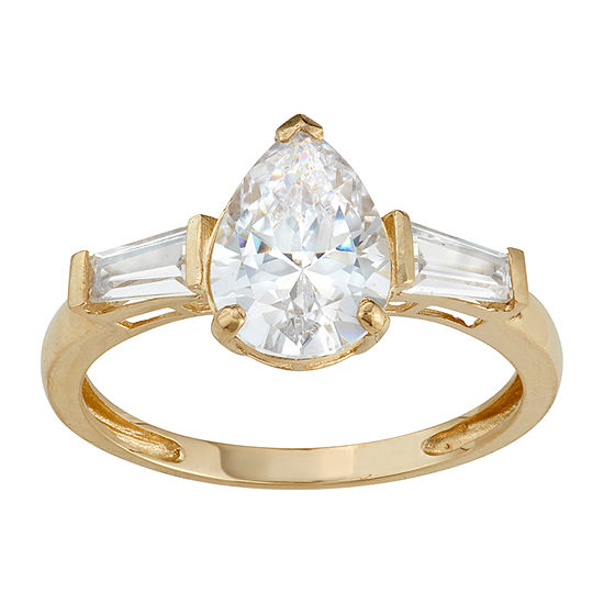 Womens 3 3/4 CT. T.W. White Cubic Zirconia 10K Gold Engagement Ring