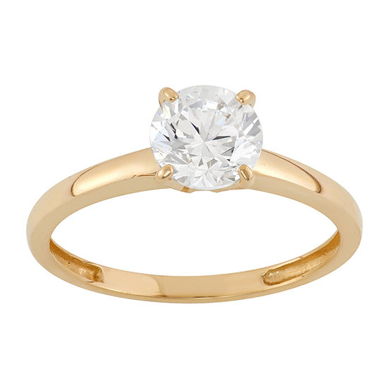 Womens 1 3/4 CT. T.W. White Cubic Zirconia 14K Gold Engagement Ring