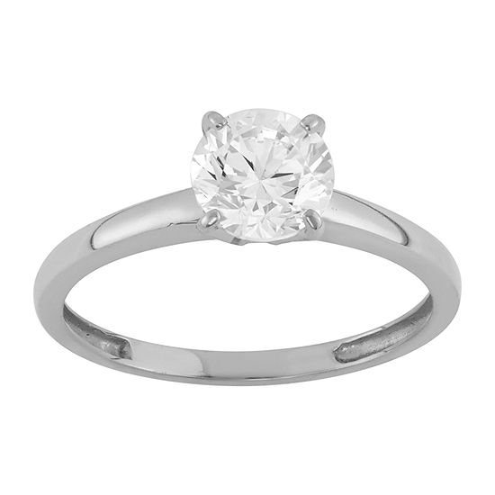 Womens 1 3/4 CT. T.W. White Cubic Zirconia 14K White Gold Engagement Ring