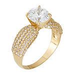 Womens White Cubic Zirconia 10K Rose Gold Engagement Ring