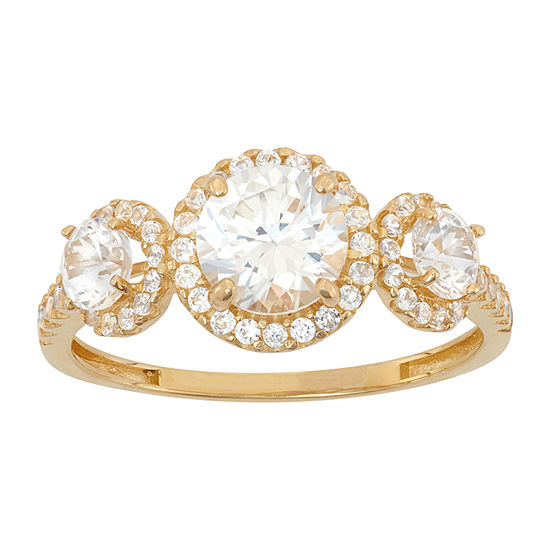 Womens 3 CT. T.W. White Cubic Zirconia 10K Gold Engagement Ring