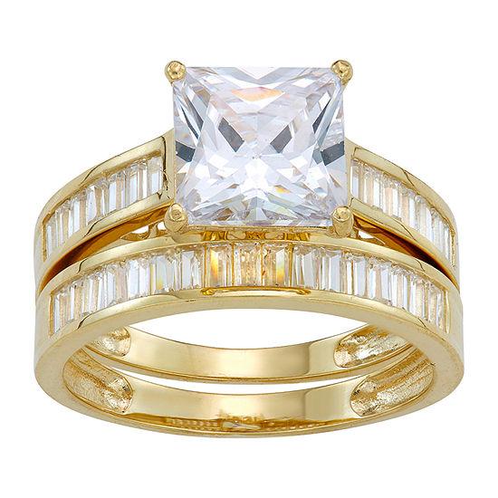 Womens White Cubic Zirconia 10K Gold Bridal Set