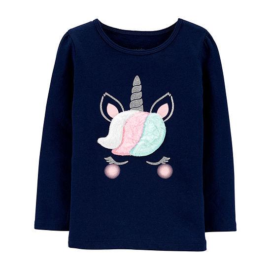 Carter's Girls Crew Neck Long Sleeve Graphic T-Shirt - Baby