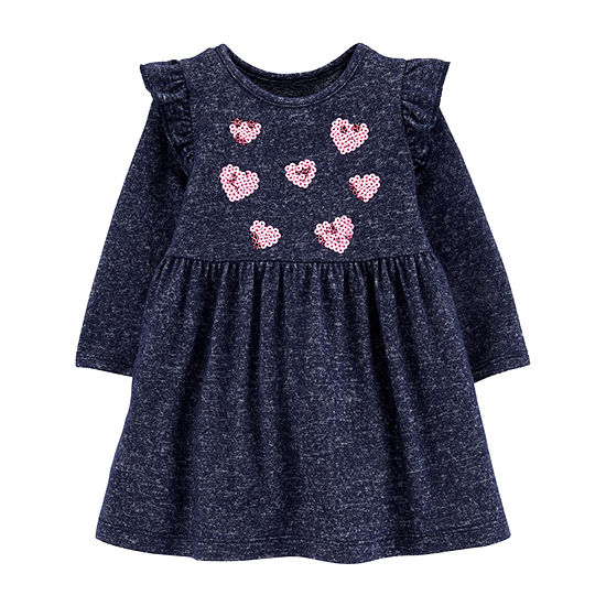 Carter's Girls Long Sleeve Hearts A-Line Dress - Baby