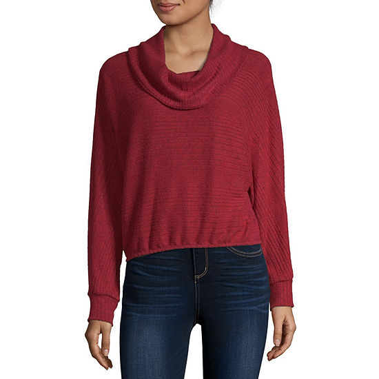 by&by Womens Cowl Neck Long Sleeve Sweater Set-Juniors