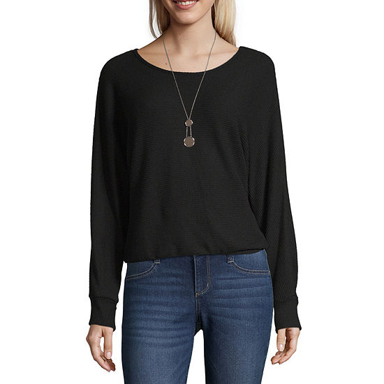 by&by Womens Round Neck Long Sleeve Knit Blouse -Juniors