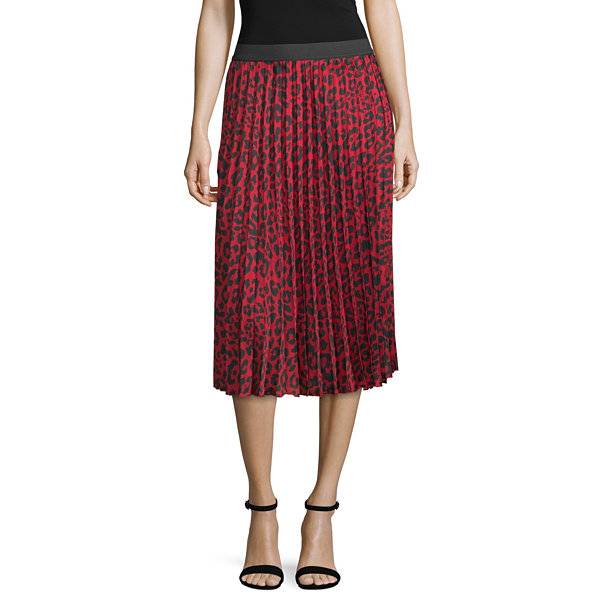 Worthington Womens Midi Pleated Skirt