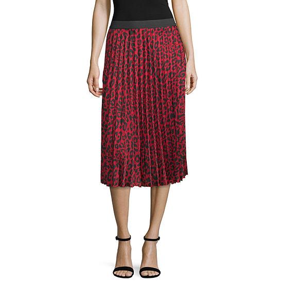 Worthington Womens Midi Pleated Skirt