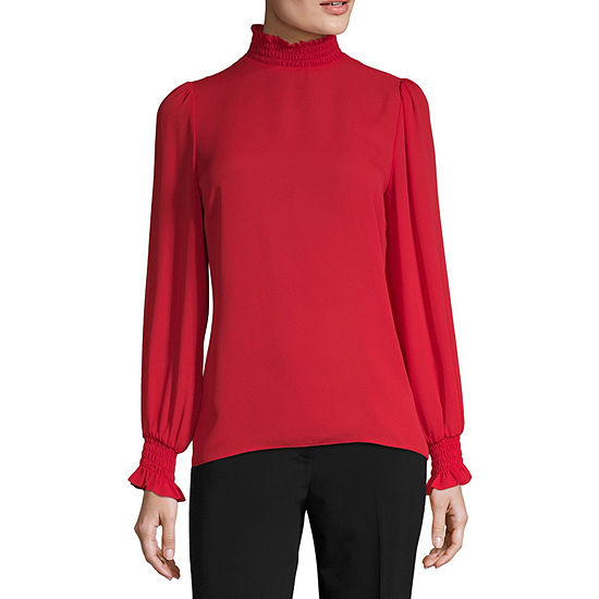 Worthington Womens Mock Neck Blouse